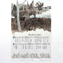 """D'Arcy Wilson, Woodland Lullaby, etching, watercolor, and silkscreen on paper, plate dimensions: 6"""" x 9"""", 2013, 250.00 CAD"""